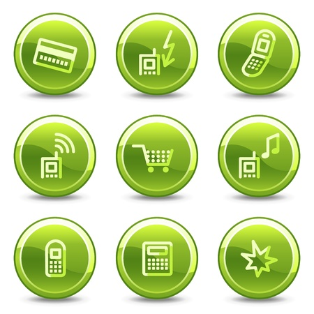 Mobile phone icons set 1, green circle glossy buttons Vector