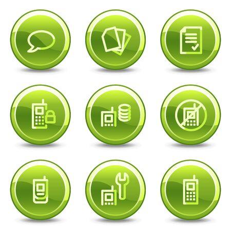 recarga: Conjunto de iconos de tel�fono m�vil 2, botones de c�rculo verde brillante Vectores