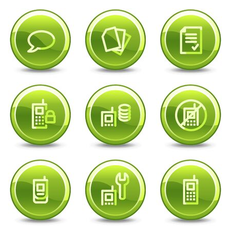 Mobile phone icons set 2, green circle glossy buttons