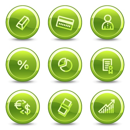 Money icons , green circle glossy buttons Stock Vector - 8411432