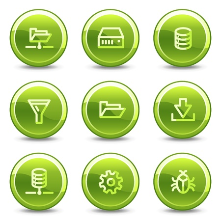 Server icons , green circle glossy buttons Vector