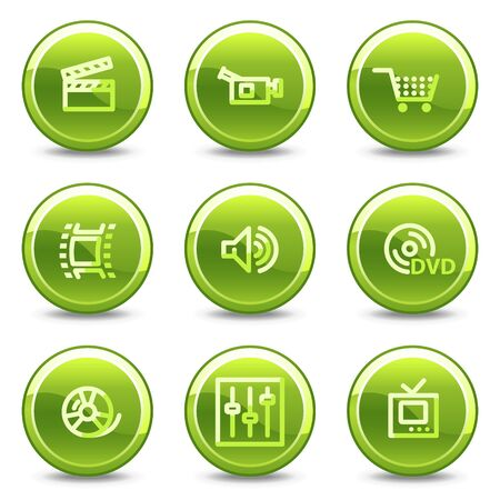 Video icons, green circle glossy buttons Vector