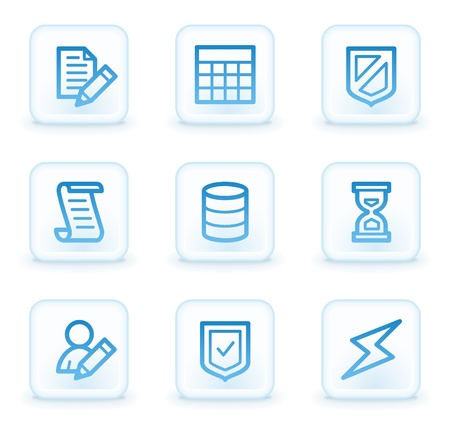 Database web icons, white square buttons photo