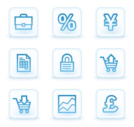 E-business web icons, white square buttons photo