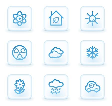 Ecology web icons set 2, white square buttons photo