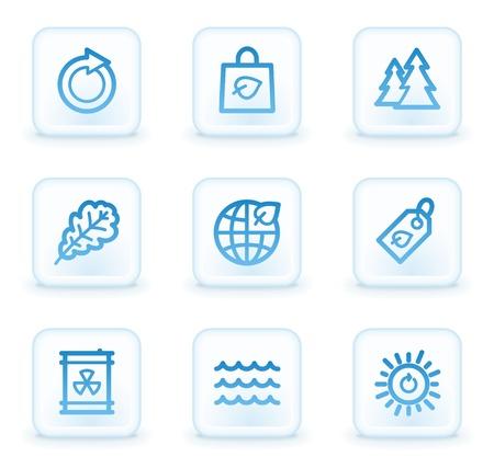 Ecology web icons set 3, white square buttons photo