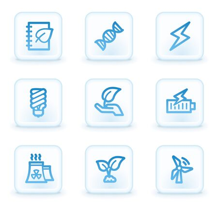Ecology web icons set 5, white square buttons Stock Photo - 8411610