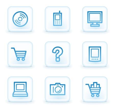 Electronics web icons set 1, white square buttons photo