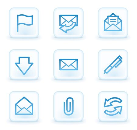E-mail web icons, white square buttons Stock Photo - 8411596