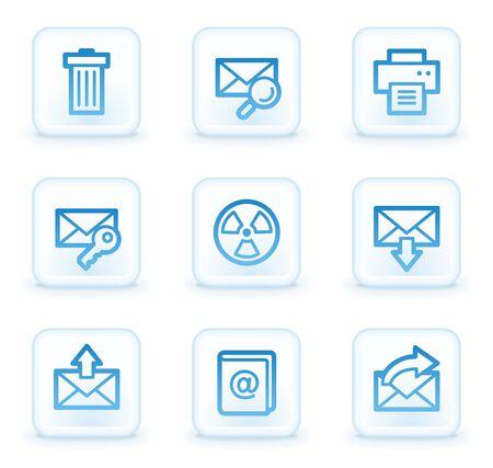 E-mail web icons set 2, white square buttons photo