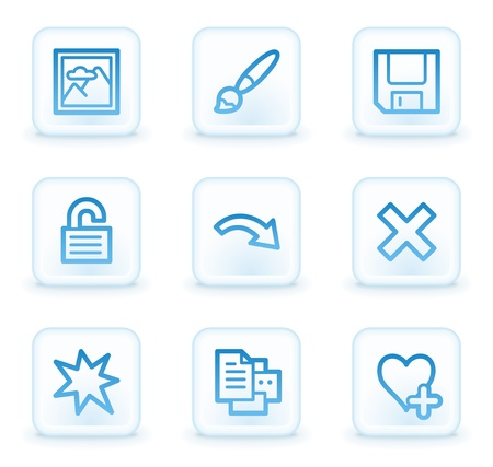 Image viewer web icons set 2, white square buttons photo