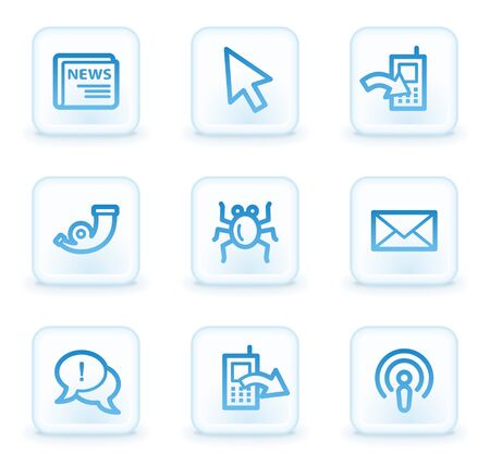 Internet web icons set 2, white square buttons Stock Photo - 8411612