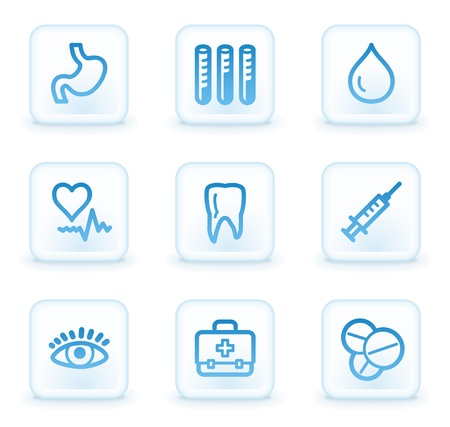 Medicine web icons set 1, white square buttons photo