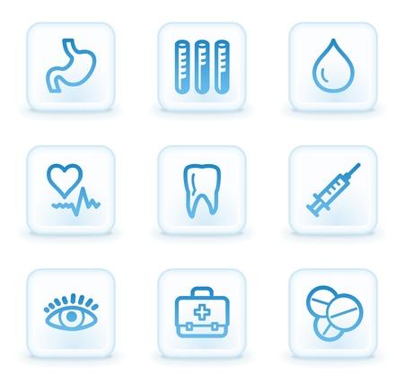 Medicine web icons set 1, white square buttons Stock Photo - 8411604