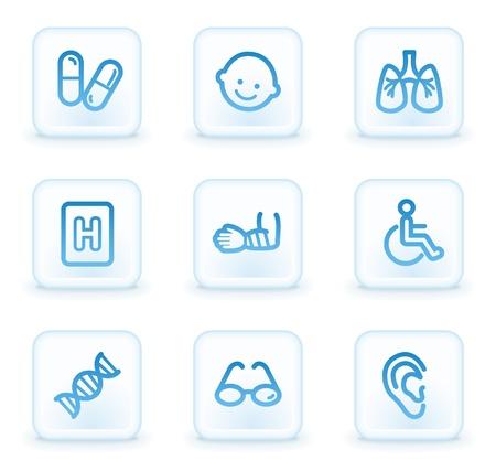 Medicine web icons set 2, white square buttons photo