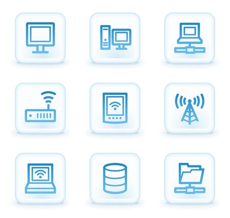 Network web icons , white square buttons Stock Photo - 8411595