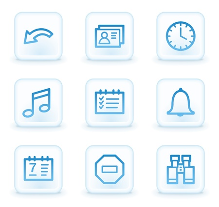 Organizer web icons , white square buttons photo