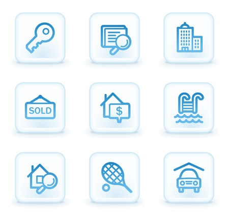 Real estate web icons, white square buttons Stock Photo - 8411626
