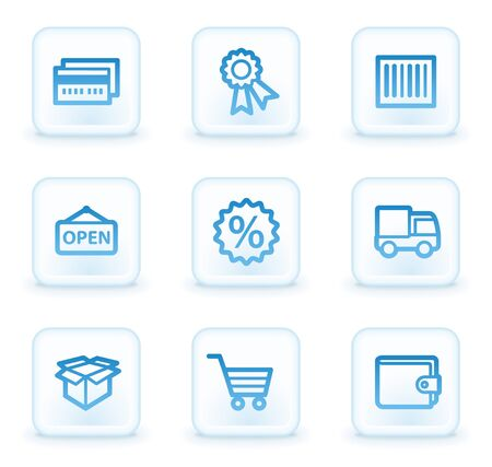 Shopping web icons set 2, white square buttons photo