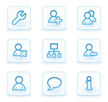 Users web icons, white square buttons photo