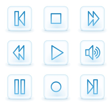 music player web icons, white square buttons