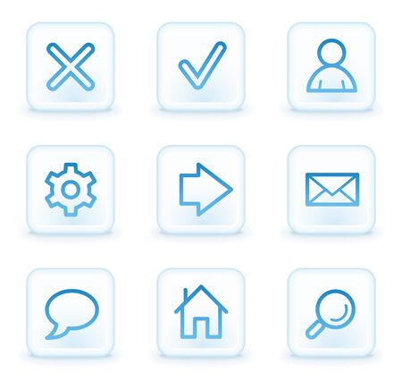 Basic web icons, white square buttons Stock Photo - 8411586