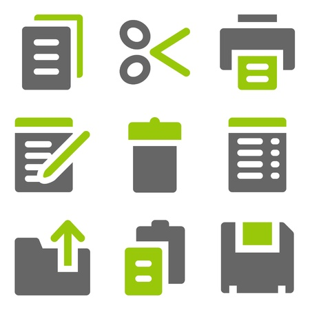 Document web icons, green grey solid icons Vector