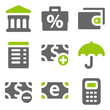 Finance web icons set 2, green grey solid icons Vector