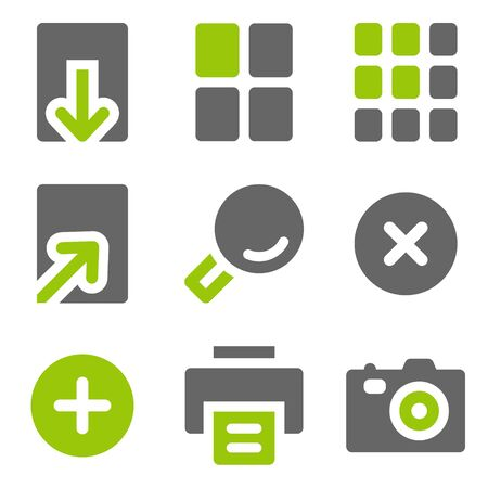 and viewer: Image viewer web icons, green grey solid icons