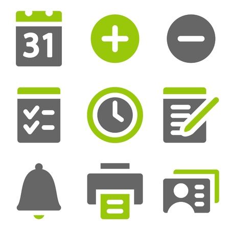 Organizer web icons, green grey solid icons Vector