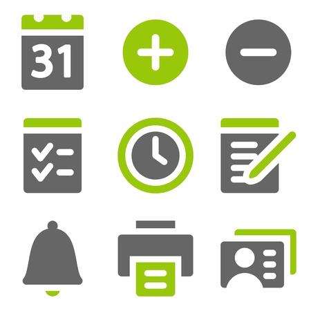 organizer: Organizer web icons, green grey solid icons