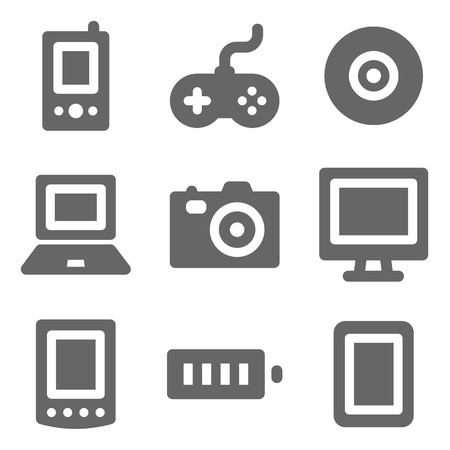 Electronics web icons, grey solid series Stock Vector - 8486836