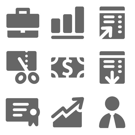 Finance web icons, grey solid series Vector