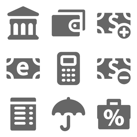 Finance web icons set 2, grey solid series Vector