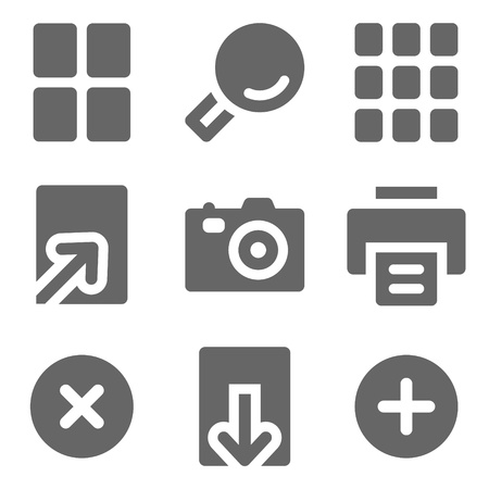 Image viewer web icons, grey solid series Vector