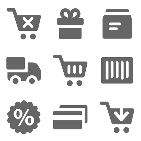 Iconos de web, serie sólido gris de compras