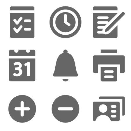 Organizer web icons, grey solid series Stock Vector - 8486837