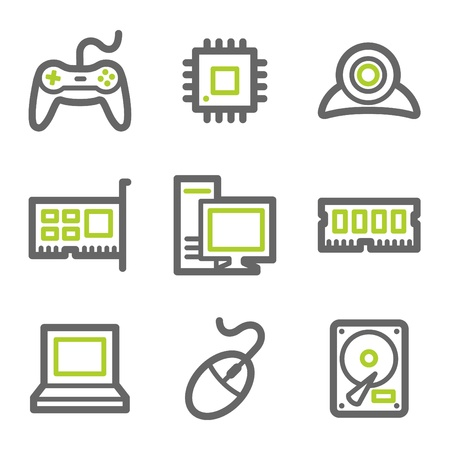computer control: Computer web icons, green and gray contour series