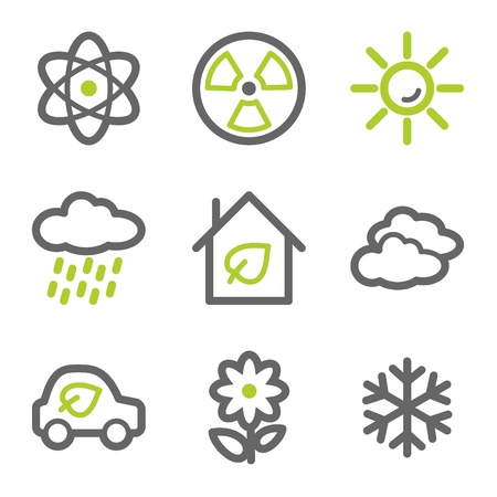 Ecology web icons set 2, green and gray contour series Vector