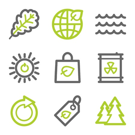 Ecology web icons set 3, green and gray contour series