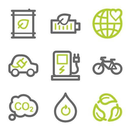 Ecology web icons set 4, green and gray contour series Vector