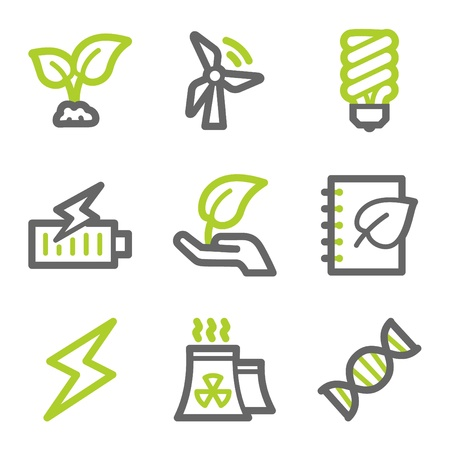 Ecology web icons set 5, green and gray contour series Иллюстрация