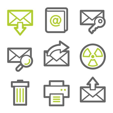 E-mail web icons set 2, green and gray contour series Vector
