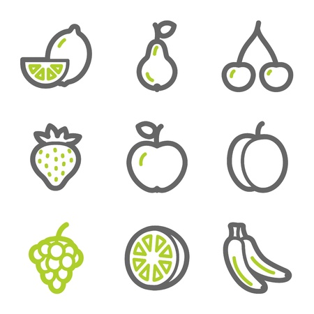 Fruits web icons, green and gray contour series Иллюстрация