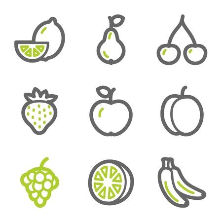 lemon lime: Icone web frutti, verde e grigio contorno serie
