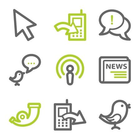 Serie de contorno de conjunto de iconos de web de Internet 2, verde y gris Foto de archivo - 8486900