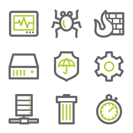 Internet security web icons, green and gray contour series