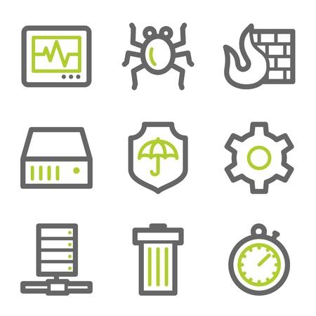 databank: Internet security web icons, groen en grijs contour serie