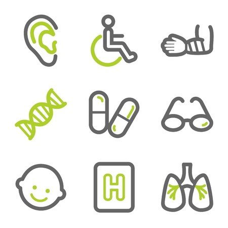 Medicine web icons set 2, green and gray contour series Vector