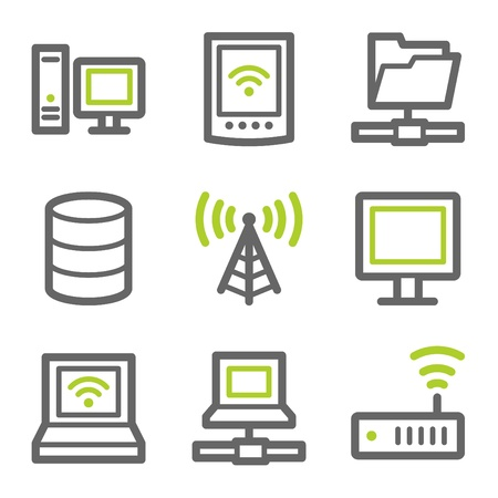 Network web icons, green and gray contour series Vector